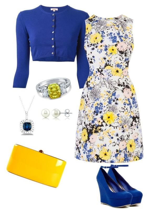 """Blue and yellow"" by lostxhalo ❤ liked on Polyvore featuring P.A.R.O.S.H., Warehouse, BERRICLE, La Preciosa, Rocio and Madden Girl"