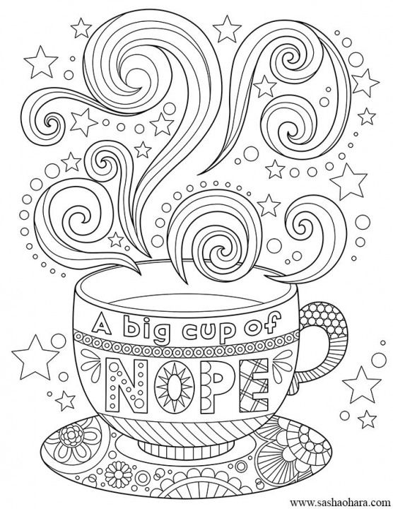 A Big Cup Of Nope Coffee Tea Cup Coloring Page Coloring