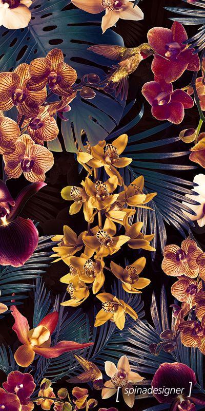 Walter Spina   Estampa Tropical Orchid (Dark version)
