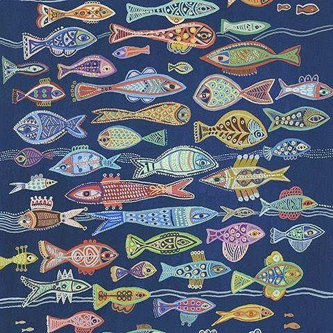 galerie doux dimanche s instagram post おすすめ パリで活躍するイラストレーター オレリア フロンティ aurelia fronty は 味わい深い魅力的な色づかいのイラストが人気 ネイビーブルーの海の底を泳ぐ カラフ fish quilts
