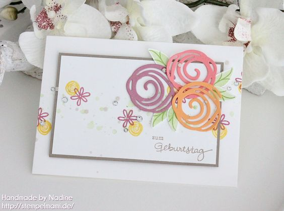 Stampin Up - Geburtstagskarte -Birthday Card - Grusskarte - Karte - Dankeskarte - Greeting Card - Thank You Card - Stempelset Geburtstagspuzzle - Stempelset Swirly Bird - Framelits Wunderbar verwickelt - Big Shot - In Color Farben 2016 2018 ☆ Stempelmami