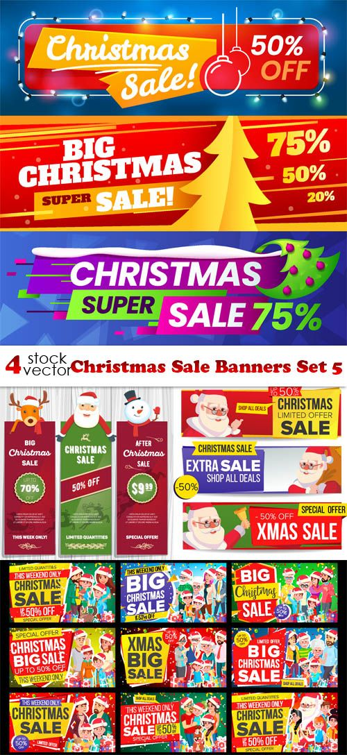 Vektornyj Klipart Christmas Sale Banners Set 5 Sale Banner