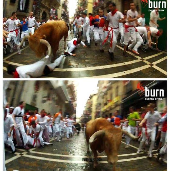 Nuestros corredores Burn grabando los encierros de San Fermín desde dentro en 2D y ¡3D! Brutal!!!! Si andad por Pamplona no te lo pierdas!