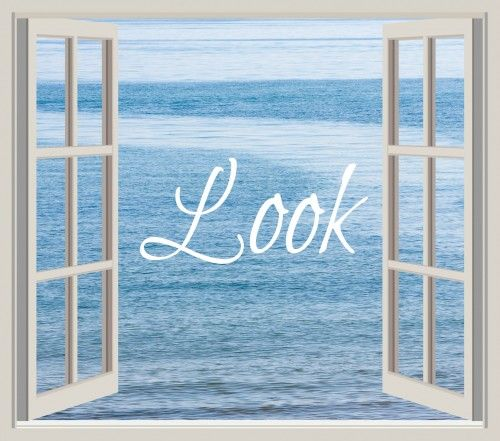 Look Ocean Through Window Frame by Karen Arnold