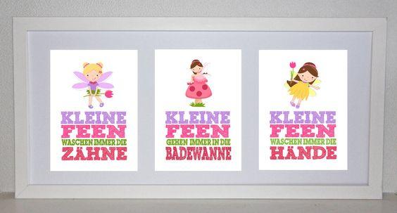 Badezimmer Regeln - FEE  (3 Bilder 13cm x 18) von Rock Maple Sugar auf DaWanda.com