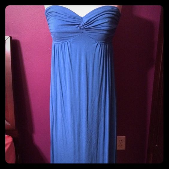 Strapless High Low Dress Super comfortable, flowy high low dress with sweetheart neckline. Bright cerulean blue color. 95% polyester, 5% spandex   ✅make me an offer! [no low balling please!] ✅bundles! trades  PayPal American Rag Dresses High Low