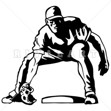 Sports Clipart Image of Black White Fielding Infield Baseball Player ...