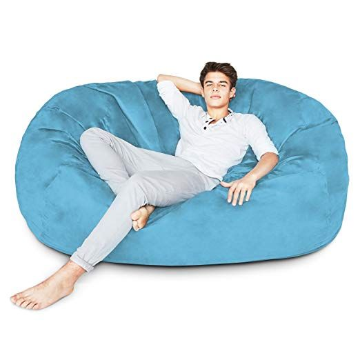 179 Amazon Lumaland Luxury 6 Foot Bean Bag Chair With Microsuede Cover Light Blue Machine Washable Big Size Sofa A Bean Bag Chair Cool Bean Bags Microsuede