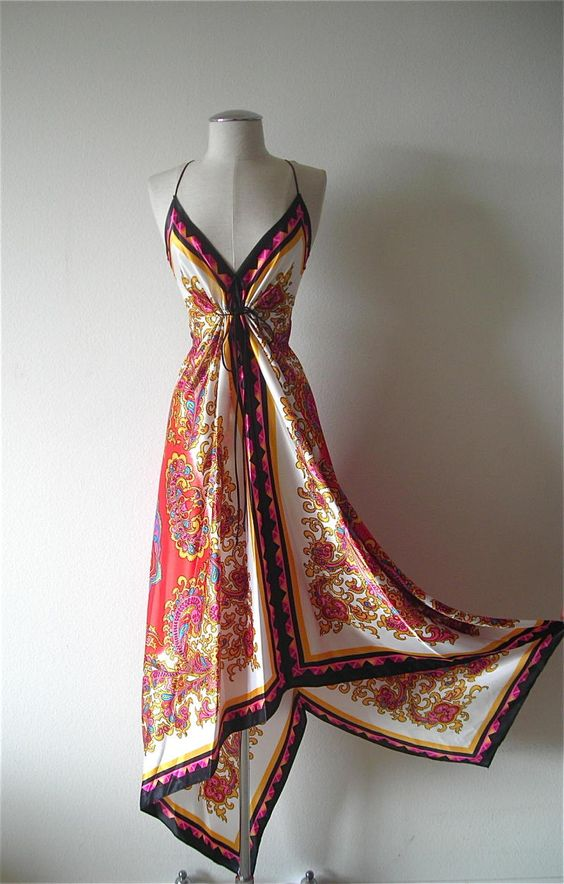 Easy ways to sew dresses like scarf print dress