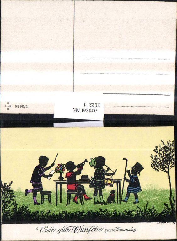 202214,Künstler AK F. Kaskeline Scherenschnitt Silhouette Kinder Dirigent Trompe | eBay