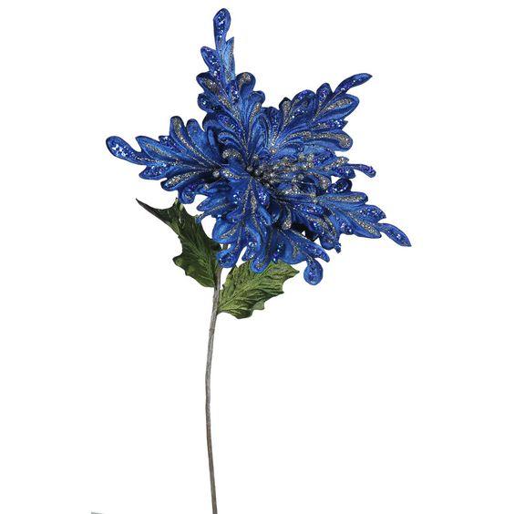 """15"""" Blue Velvet Poinsettia Artificial Christmas Pick, 3 per Bag"""