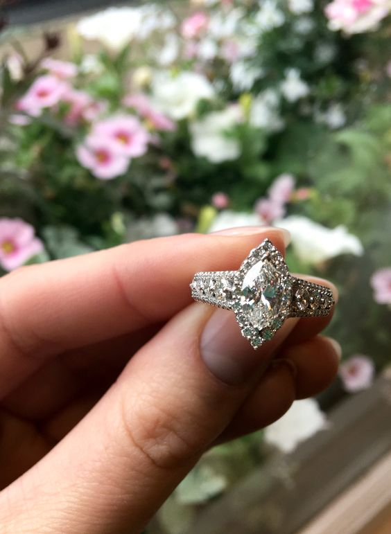 Large marquise cut Diamond engagement ring at Colonial Jewelers