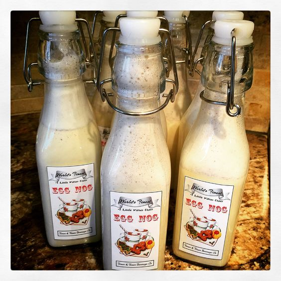Homemade Eggnog with labels I designed in Silhouette Cameo