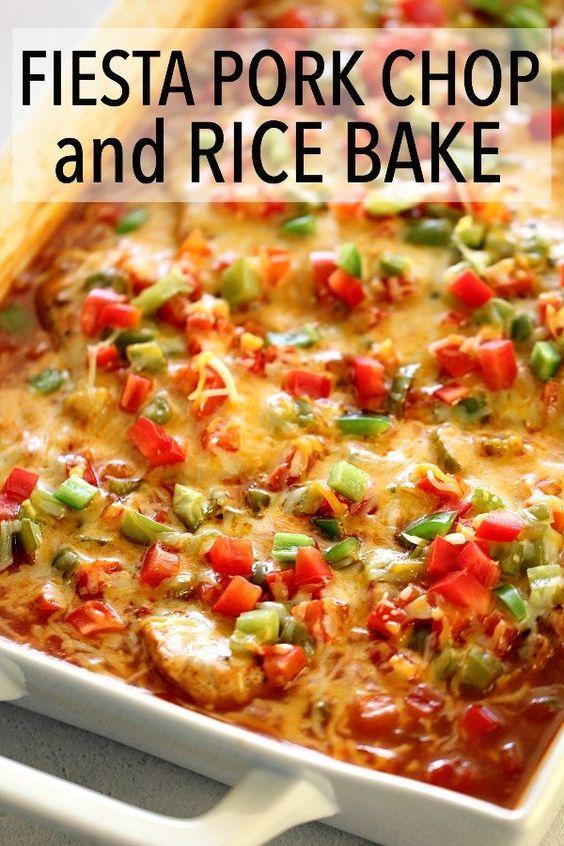 Fiesta Pork Chop and Rice Bake