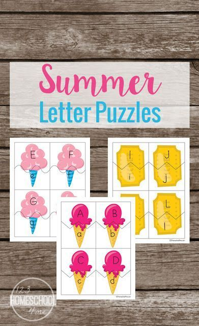 FREE Summer Alphabet Puzzles - Preschool and Kindergarten age kids will have fun matching upper and lower case letters with this summer themed learning activity for toddler, preschool, kindergarten and first grade kids.