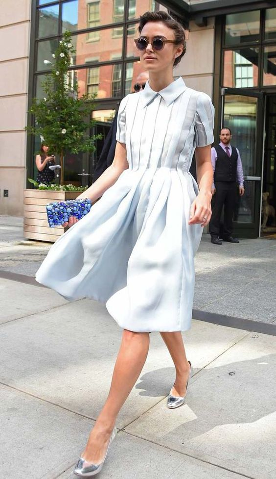 Keira Knightley in baby blue shirt dress. Sophisticated, girly and cool all at once.