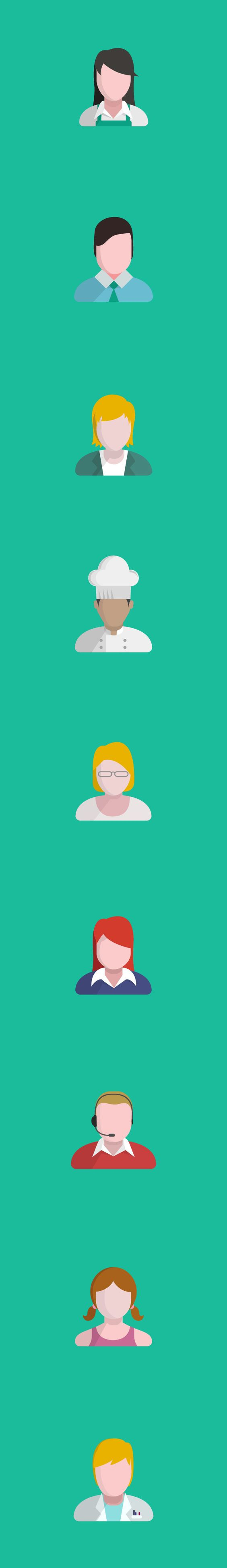 People Flat Icons by Nicolás Paparella, via Behance