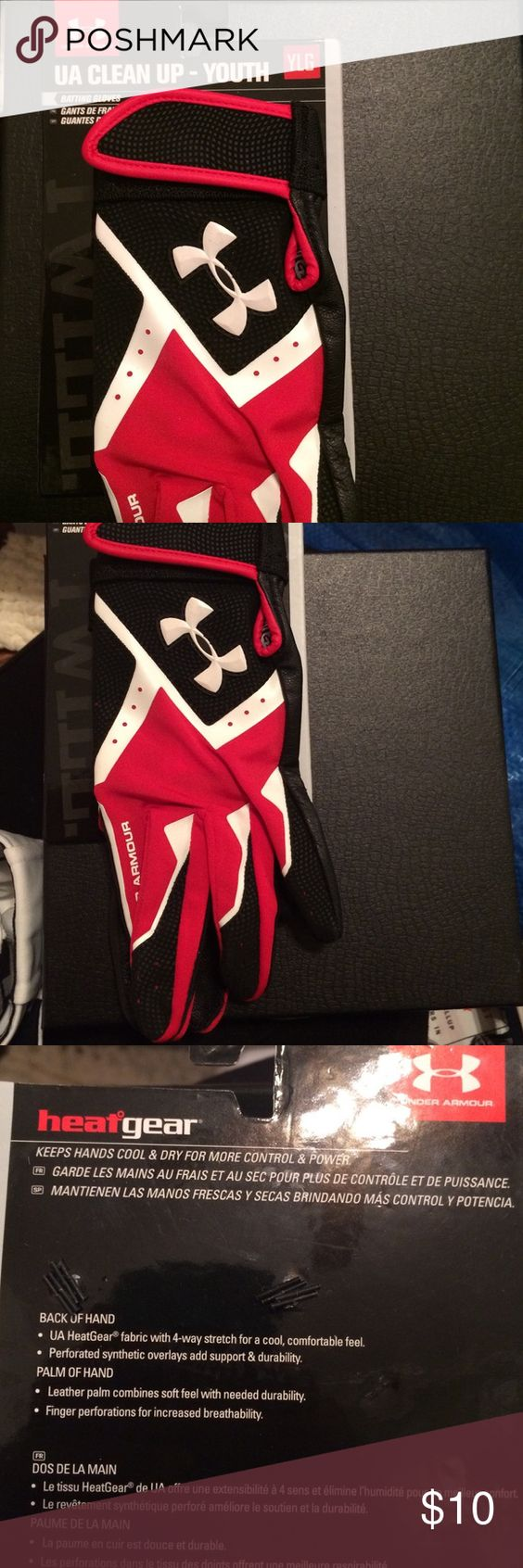 Youth Large Batting Gloves UA Clean Up -Youth batting gloves. Never been worn. Under Armour Other