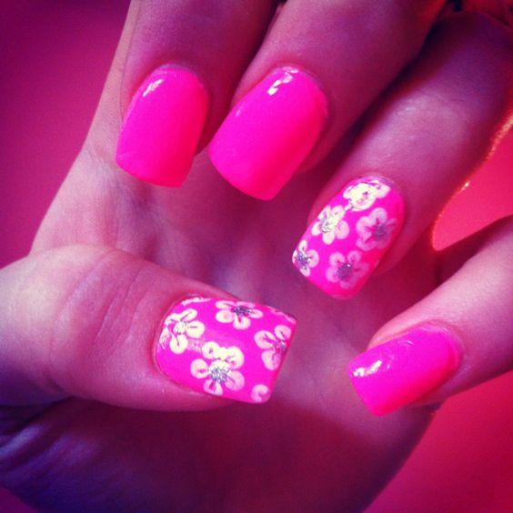 Pink flower summery nails! Soo cute