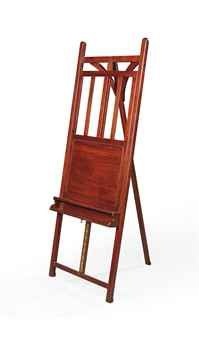 A SCOTTISH LATE VICTORIAN MAHOGANY PICTURE-EASEL  BY JOHN TAYLOR & SON, EDINBURGH, LATE 19TH CENTURY  Images