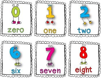 Here's a set of fun number posters/cards for the numbers 1-20 ...