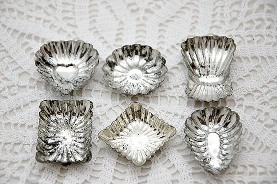 Vintage French chocolate molds, fluted shapes, individual molds, set of 6, metal chocolate mold, kitchen decor