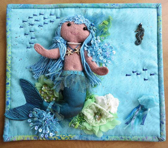 "Mini quilt from Teri for the QT ""Under the Sea"" theme 
