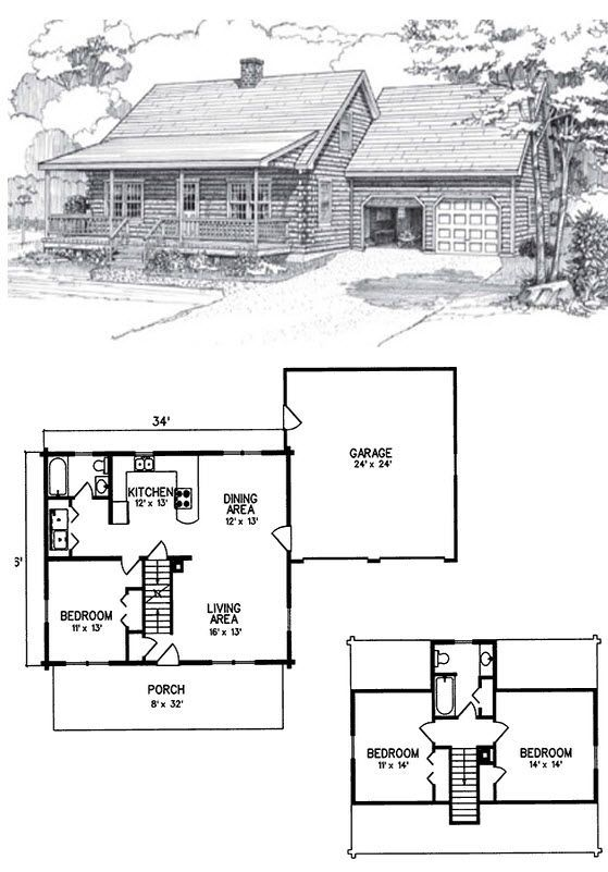 3 Bed 2 Bath 2 Levels 1414 Sq Ft For The Traditionalist Who Enjoys The Finer Things In Life The Bax Log Cabin Floor Plans Cottage House Plans New House Plans