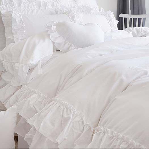 Grace Double Ruffle Duvet Cover Set White Ruffle Bedding Luxury