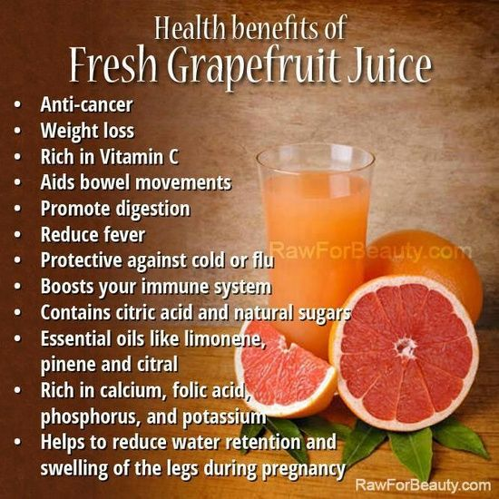 Health Benefits of Grapefruit Juice Note: Grapefruit juice affects the absorption of a number of medications, so read the warning labels on any medications you are taking before consuming. Otherwise, drink lots of grapefruit juice and reap the benefits!