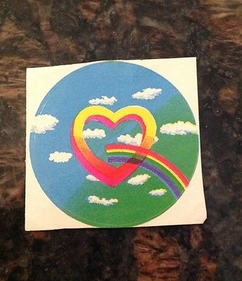 Vintage 80's Rainbow Heart Sticker - Rare