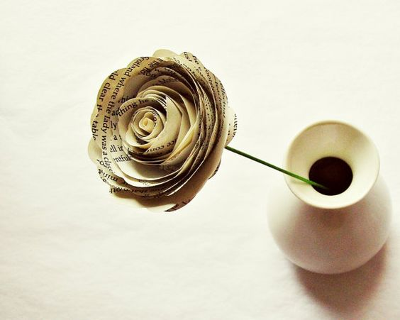 Paper Flowers // Book Page Paper Roses // Vintage Wedding
