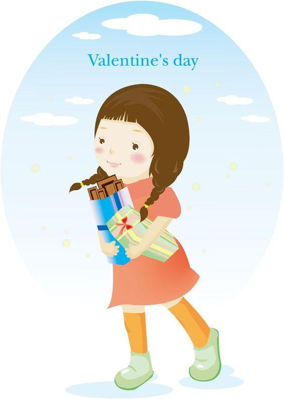 Cartoon Characters Valentines Day : Cartoon girl female characters valentine s day vector