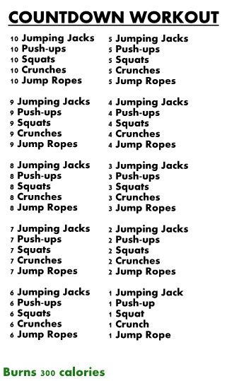Countdown Workout...takes about 15-20 mins with stretches throw in. I added a medicine ball anytime my arms were unoccupied - front lifts, swinging during crunches, a tricep dip-style thing over my head, bending elbows at a 90 degree angle. Will be keeping this one!