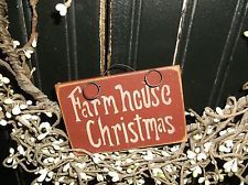 """Wood Signs CHRISTMAS """"Handmade"""" Hangs on Wreath and Grapevine Rustic Decor Sign"""