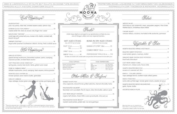 Menu — Noona Steakhouse & Oyster Bar