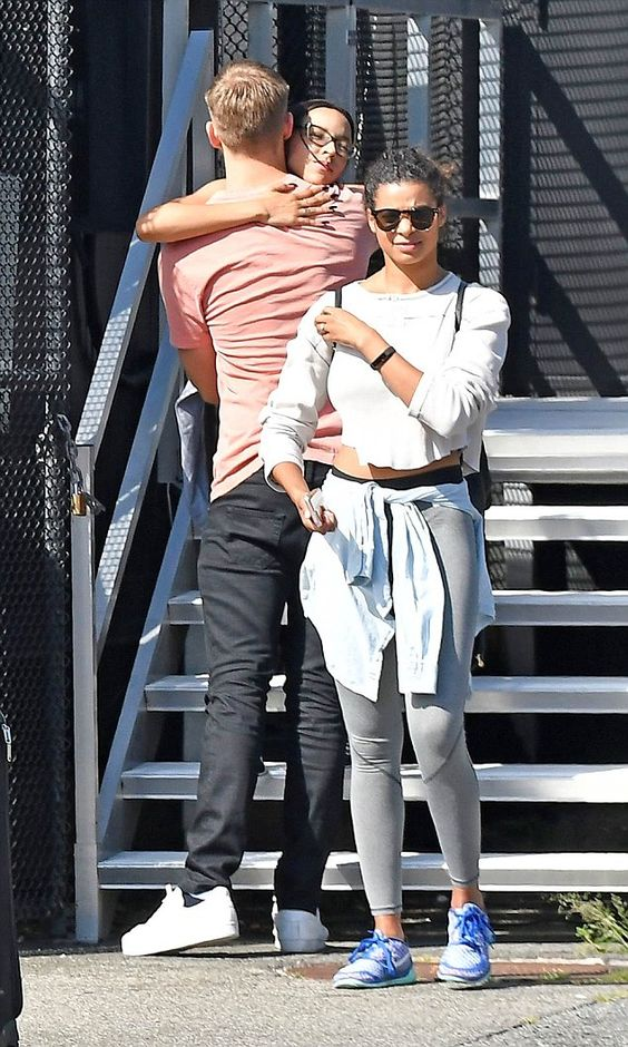 Hugging it out: The pair - who recently denied rumours they were dating - shared…