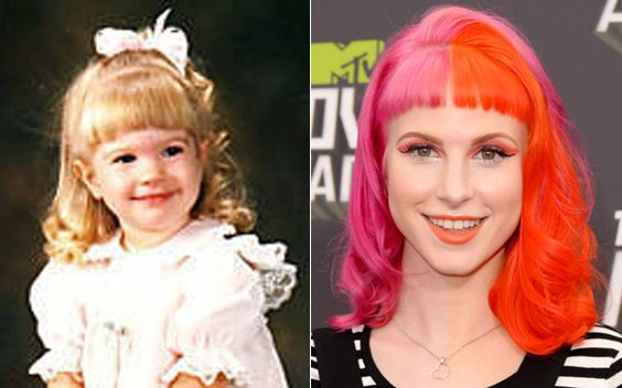 E Hayley Williams, hein? Sempre com cores divertidas no cabelo, especialmente com o laranja (sua favorita), a vocalista do Paramore é naturalmente loiríssima. Fofa demais!