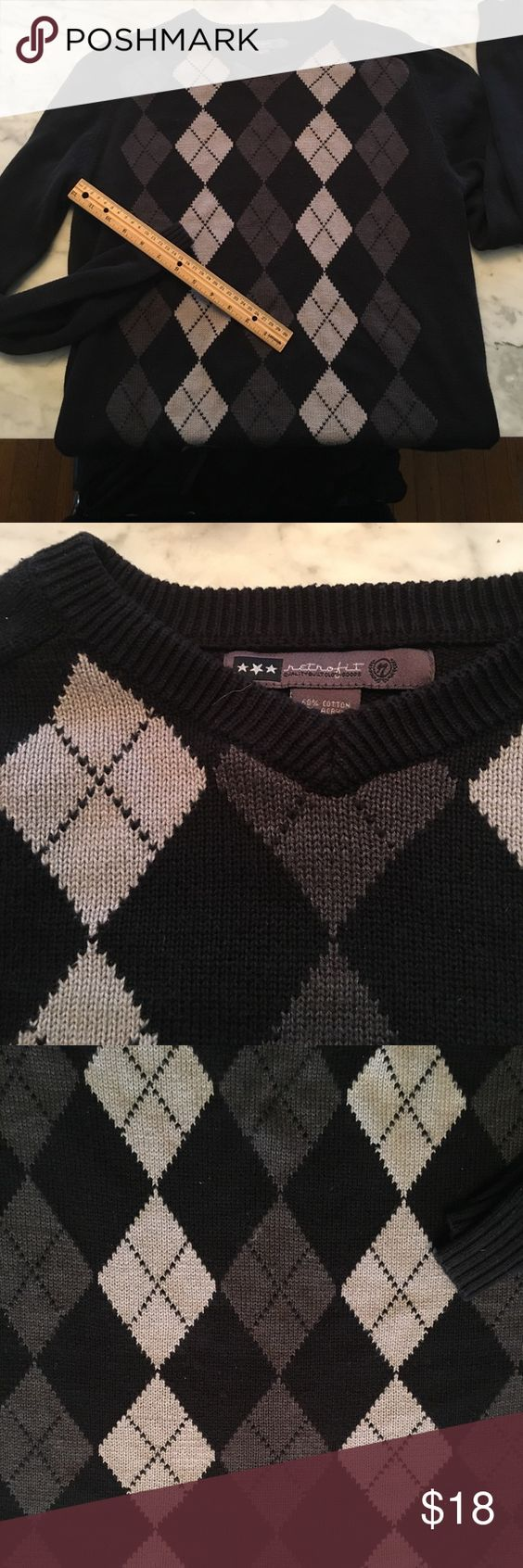 """Retro men's argyle sweater goth grey black medium I love this sweater on my husband but he thinks it's too small. Anyways... 40"""" chest basic men's medium. In good used condition and easy to dress up or down! Retrofit Sweaters V-Neck"""