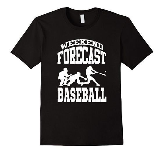Men's Funny Baseball Shirt: Weekend Forecast - Baseball T-shirt 2XL Black