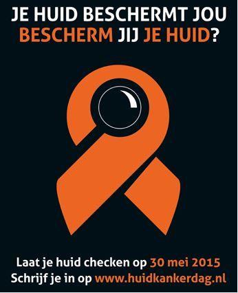 Noteer in je agenda: de landelijke huidkankerdag vindt plaats op zaterdag 30 mei 2015, van 10.00 tot 13.00 uur. Op die dag kunnen mensen gratis hun huid laten checken door een dermatoloog op mogelijk verdachte plekjes.  Let op: voor het checken van je huid moet je je wel vooraf inschrijven, via de website www.huidkankerdag.nl  Je kunt je inschrijven van 20 april tot 25 mei. Echter, 'vol is vol', dus wees er tijdig bij.
