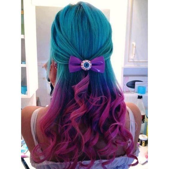 Blue Hair Trend Mermaid-inspired Hair via Polyvore featuring hair