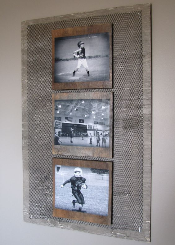 DIY Industrial boys room wall photo collage. I antigued an old wood board, cut metal, then mod podged black & white photos to individual wood boards.