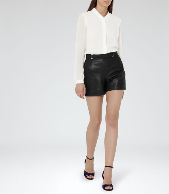 Womens Black Leather Shorts - Reiss Bowery