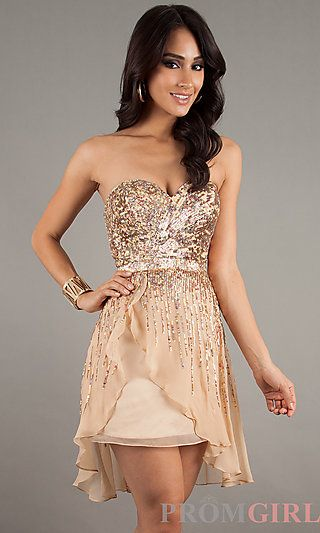 Short Strapless Sequin Dress by Sherri Hill 8443 at PromGirl.com ...
