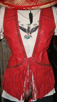Double D Red Studded Fringe Vest