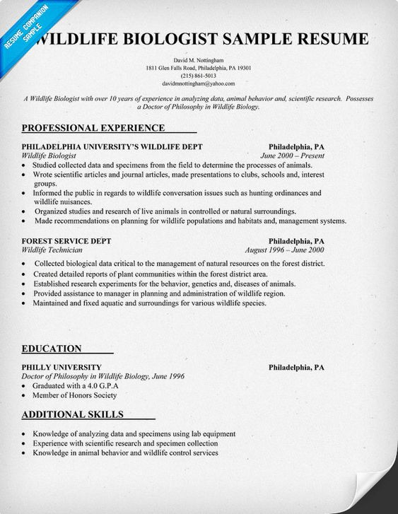 wildlife biologist resume sample httpresumecompanioncom resume samples across all industries pinterest wildlife animal and veterinarians - Sample Wildlife Biologist Resume