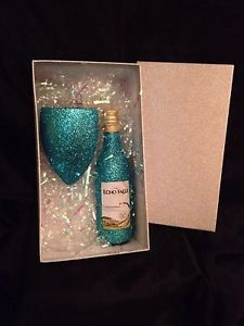 Hand Decorated Glitter Wine Glass With FREE Bottle Of Wine & Gift Boxed | eBay