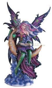 Purple Fairy Sitting on Moon Collectible Figurine Decoration Statue