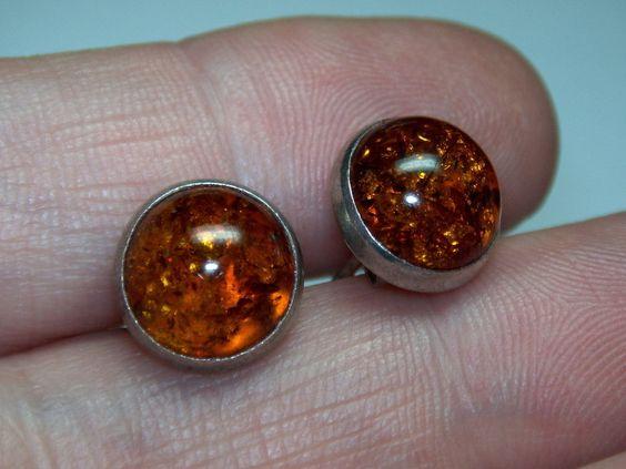 Sterling Silver 925 Vintage Estate 3 8 inch Cognac Amber Stud Earrings | eBay